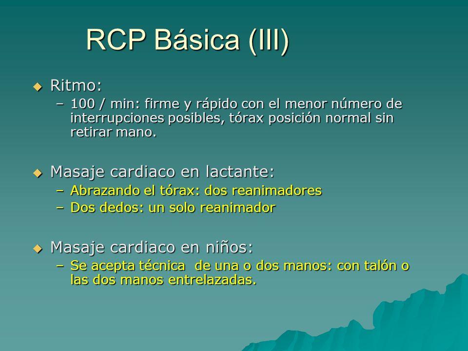 RCP Básica (III) Ritmo: Masaje cardiaco en lactante: