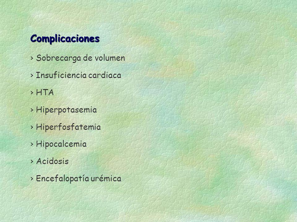 Complicaciones Sobrecarga de volumen Insuficiencia cardiaca HTA