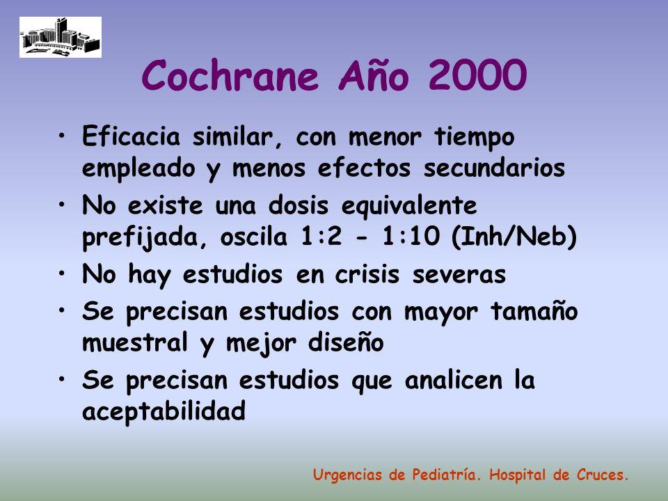 Cochrane Año 2000 Eficacia similar, con menor tiempo empleado y menos efectos secundarios.