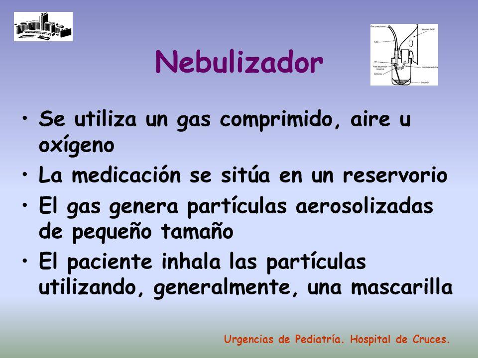 Nebulizador Se utiliza un gas comprimido, aire u oxígeno