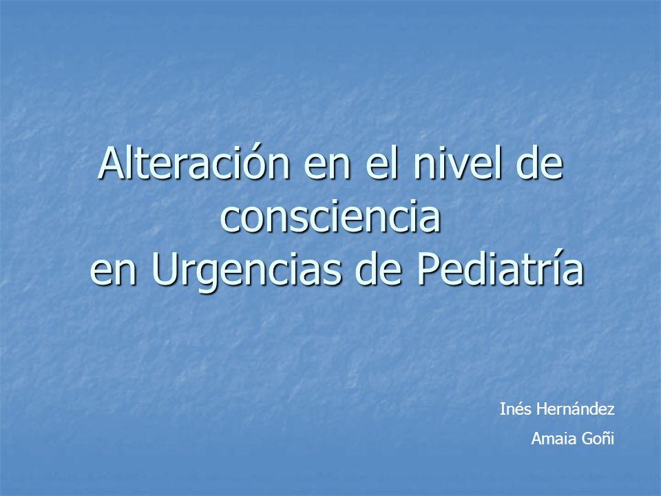 Alteración en el nivel de consciencia en Urgencias de Pediatría