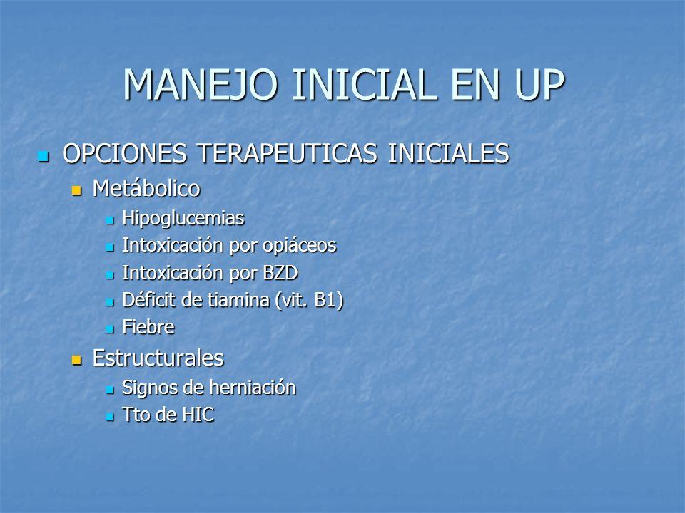 MANEJO INICIAL EN UP OPCIONES TERAPEUTICAS INICIALES Metábolico