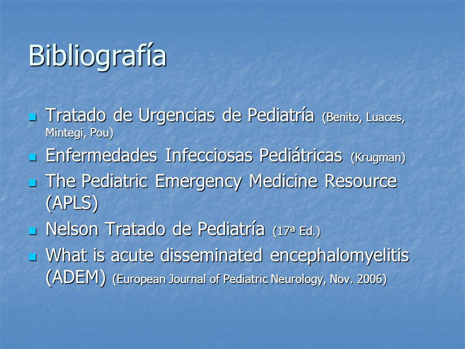 Bibliografía Tratado de Urgencias de Pediatría (Benito, Luaces, Mintegi, Pou) Enfermedades Infecciosas Pediátricas (Krugman)