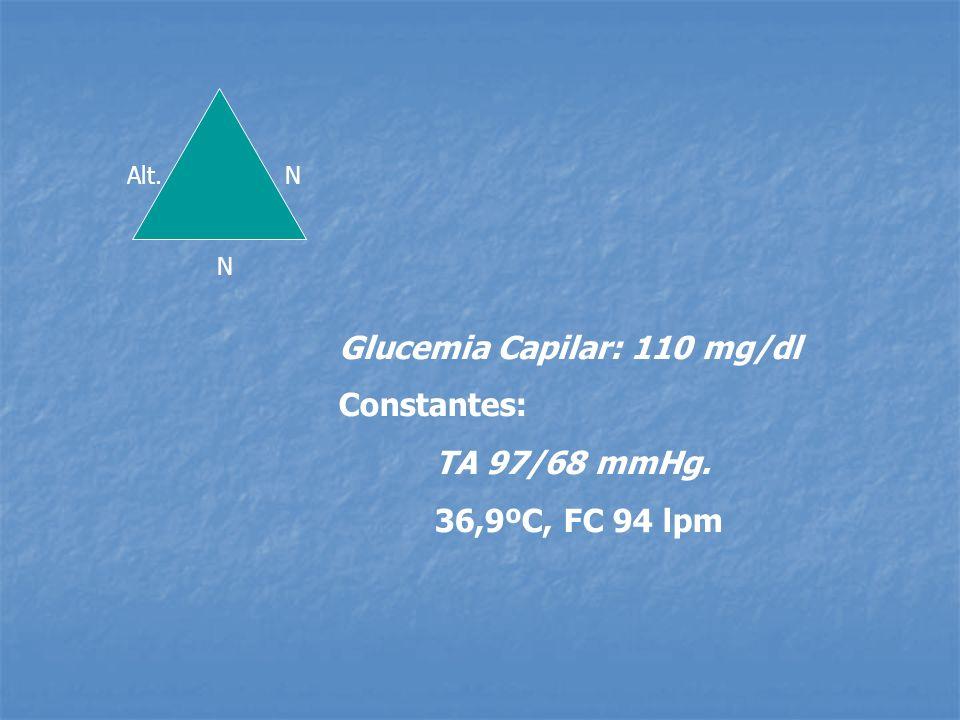 Glucemia Capilar: 110 mg/dl Constantes: TA 97/68 mmHg.