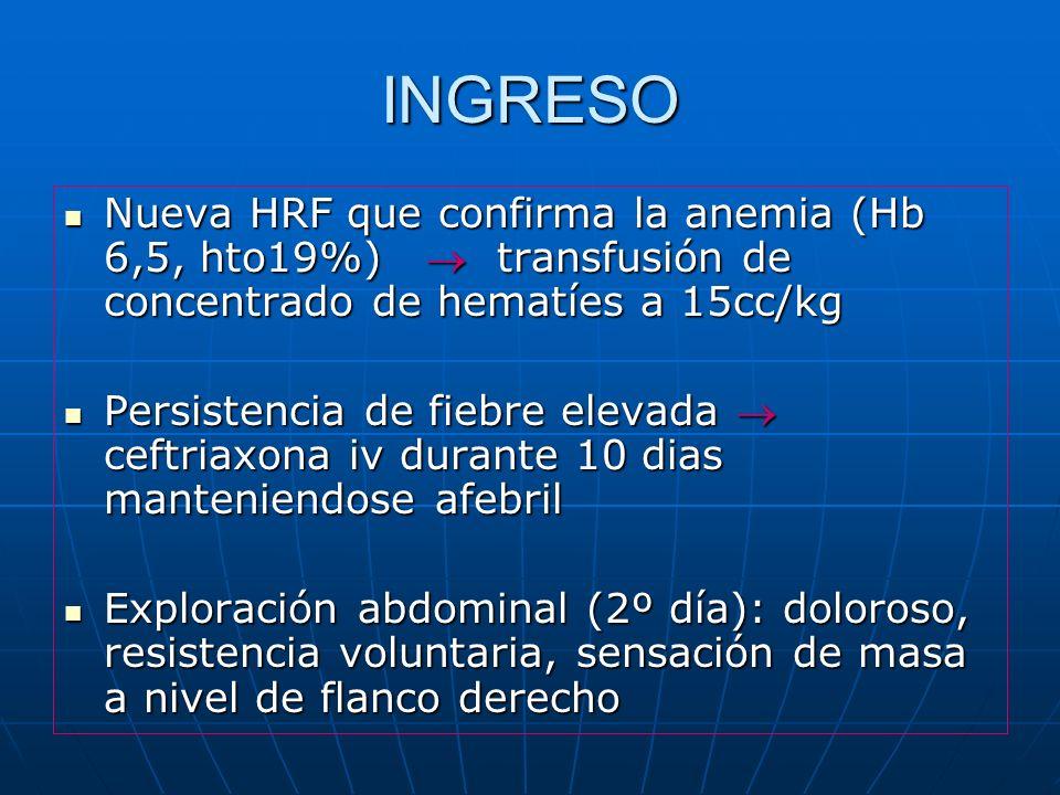 INGRESO Nueva HRF que confirma la anemia (Hb 6,5, hto19%)  transfusión de concentrado de hematíes a 15cc/kg.