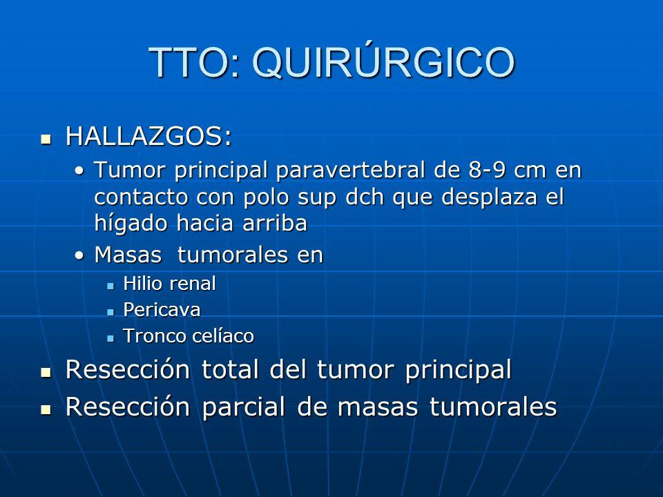 TTO: QUIRÚRGICO HALLAZGOS: Resección total del tumor principal