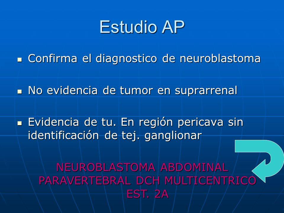 NEUROBLASTOMA ABDOMINAL PARAVERTEBRAL DCH MULTICENTRICO EST. 2A