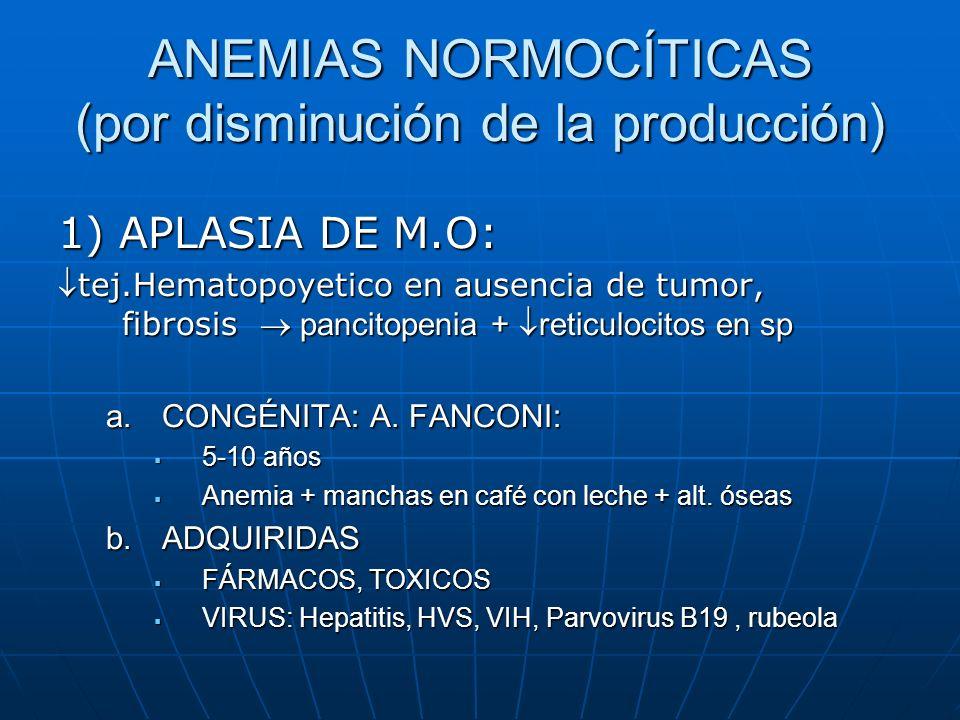 ANEMIAS NORMOCÍTICAS (por disminución de la producción)