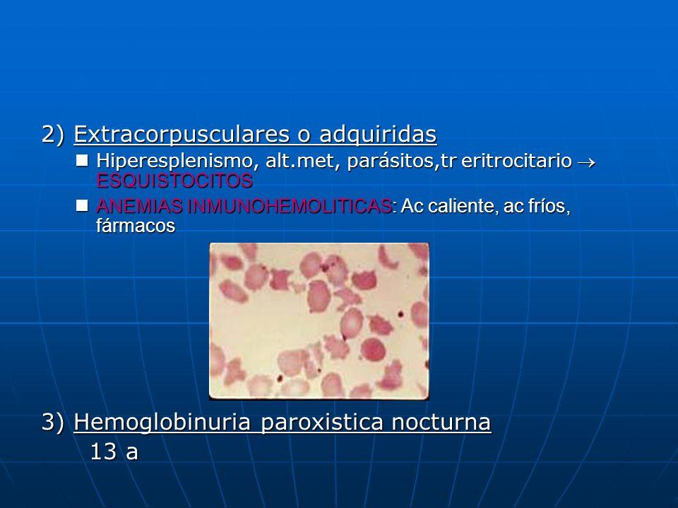 2) Extracorpusculares o adquiridas