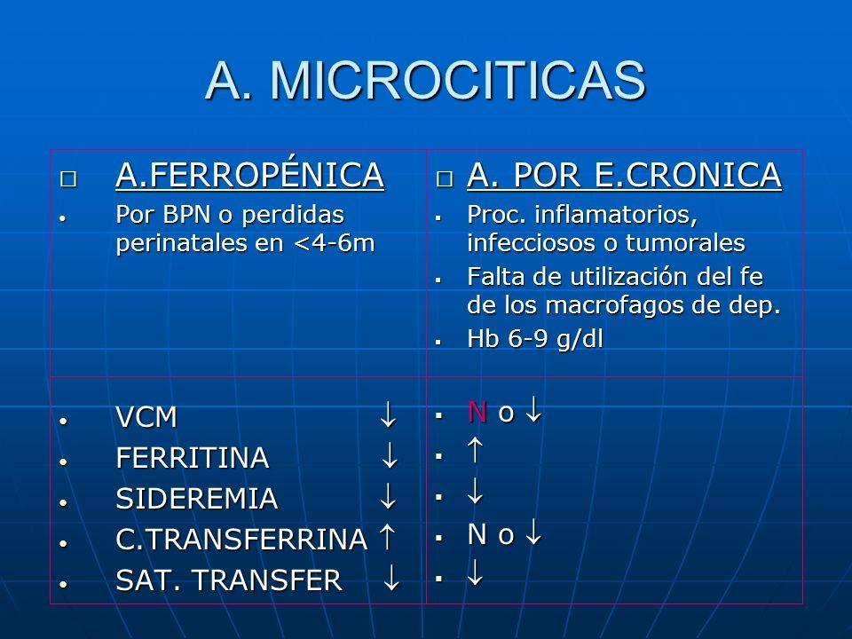 A. MICROCITICAS A.FERROPÉNICA A. POR E.CRONICA N o  VCM  