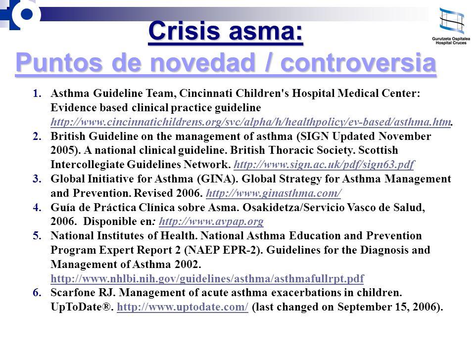 Crisis asma: Puntos de novedad / controversia