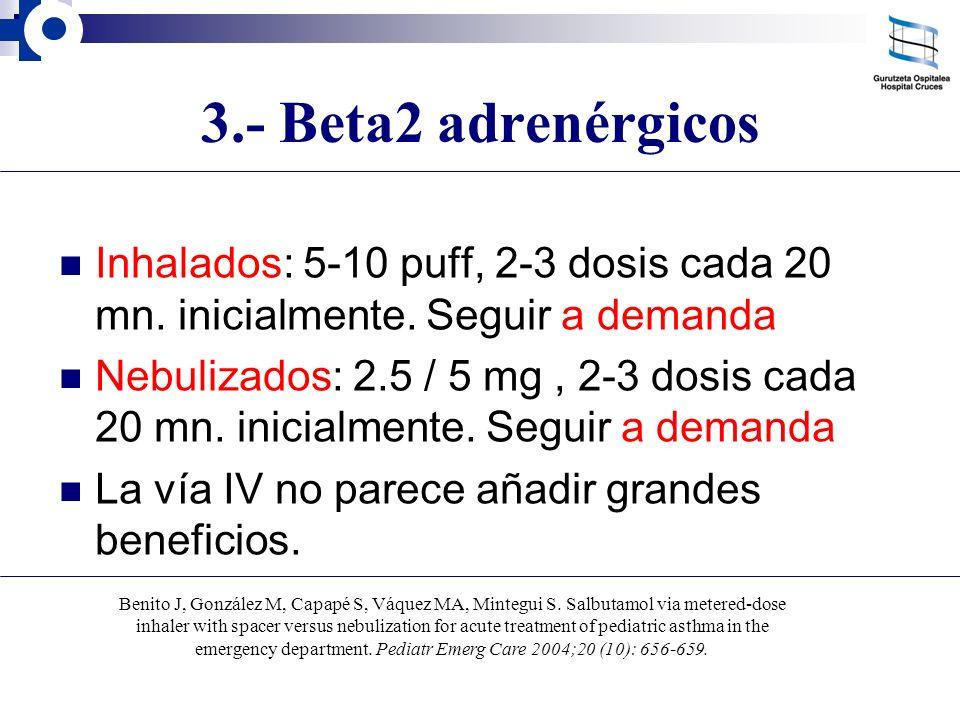3.- Beta2 adrenérgicos Inhalados: 5-10 puff, 2-3 dosis cada 20 mn. inicialmente. Seguir a demanda.