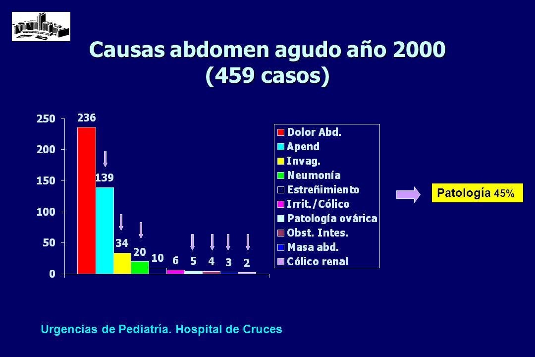 Causas abdomen agudo año 2000 (459 casos)