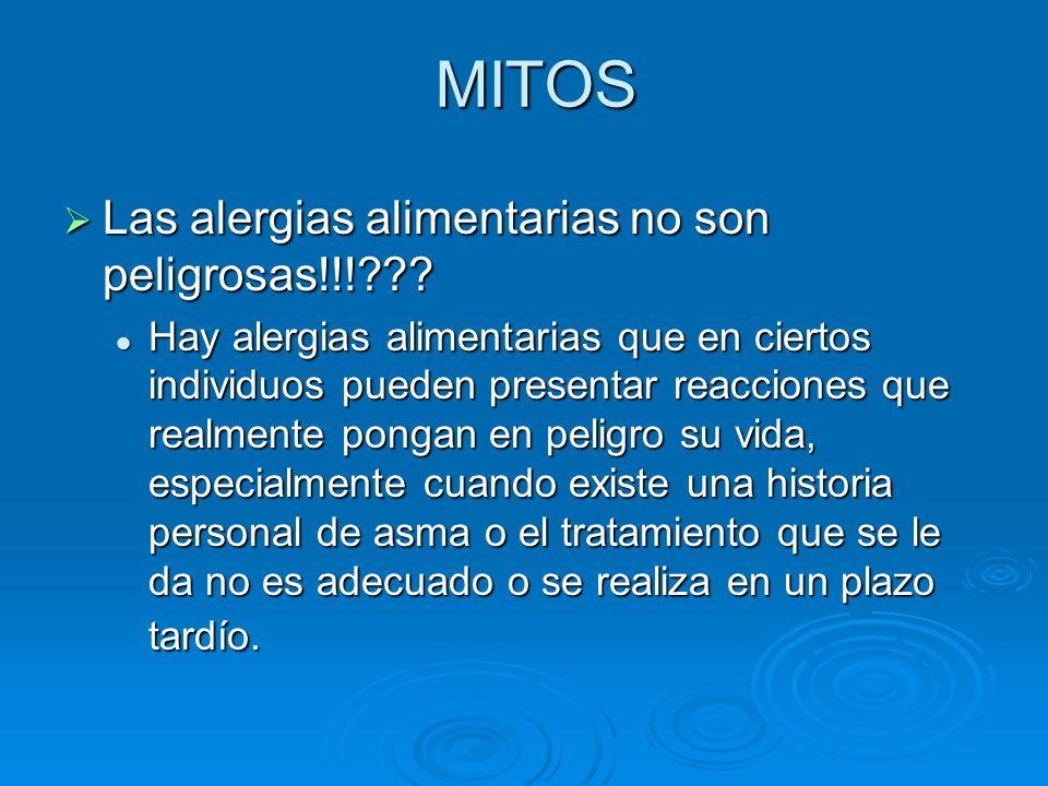 MITOS Las alergias alimentarias no son peligrosas!!!