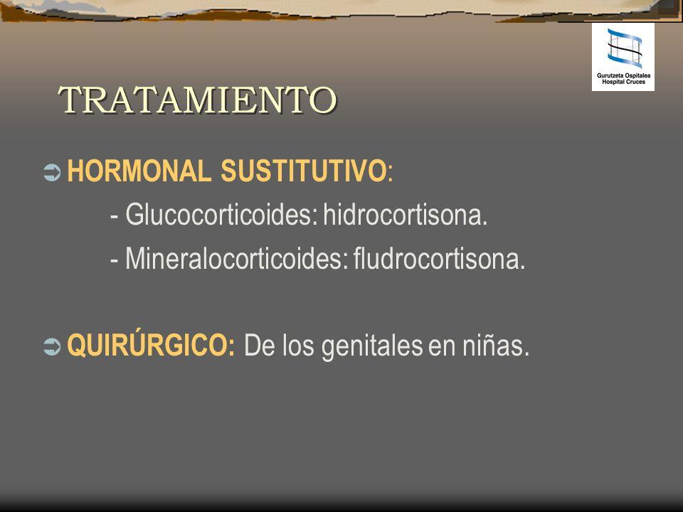 TRATAMIENTO HORMONAL SUSTITUTIVO: - Glucocorticoides: hidrocortisona.