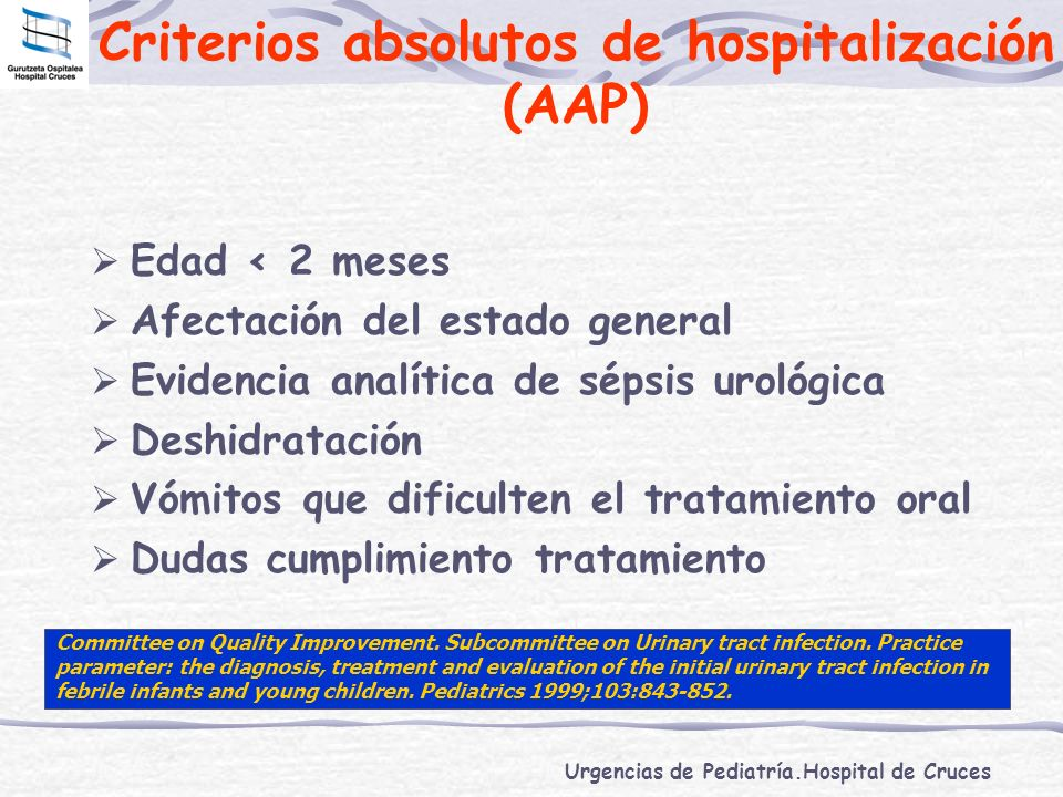 Criterios absolutos de hospitalización (AAP)