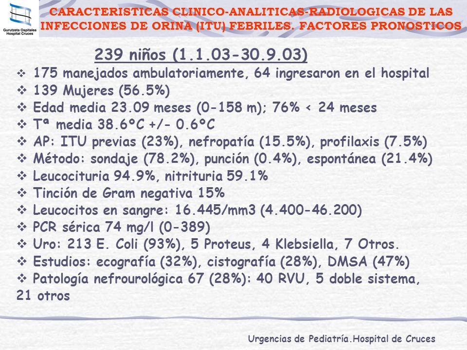 CARACTERISTICAS CLINICO-ANALITICAS-RADIOLOGICAS DE LAS INFECCIONES DE ORINA (ITU) FEBRILES. FACTORES PRONOSTICOS