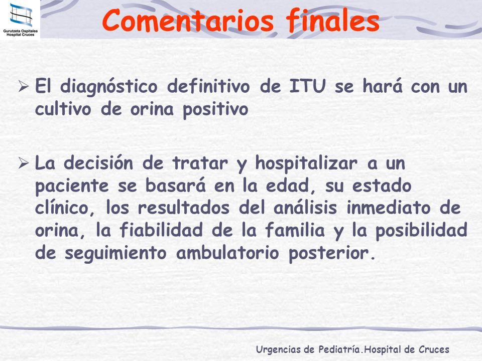 Comentarios finales El diagnóstico definitivo de ITU se hará con un cultivo de orina positivo.
