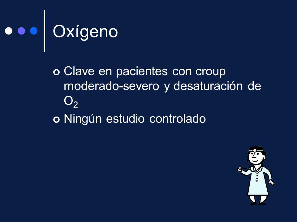 Oxígeno Clave en pacientes con croup moderado-severo y desaturación de O2 Ningún estudio controlado