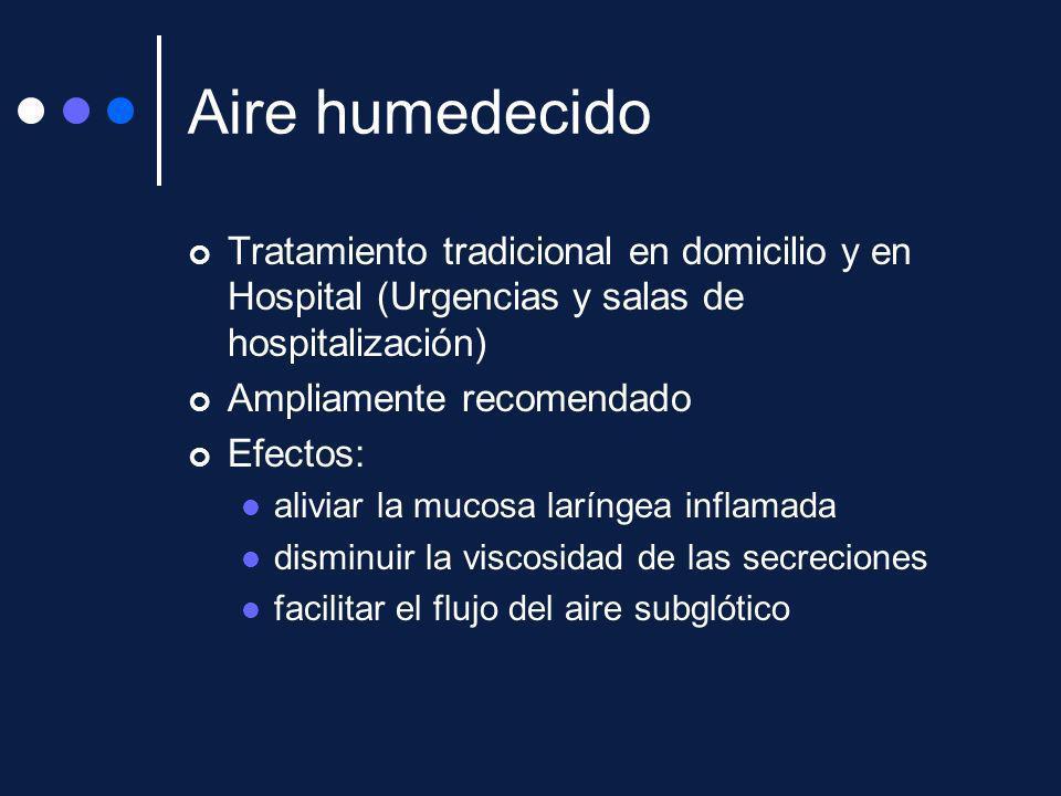 Aire humedecido Tratamiento tradicional en domicilio y en Hospital (Urgencias y salas de hospitalización)