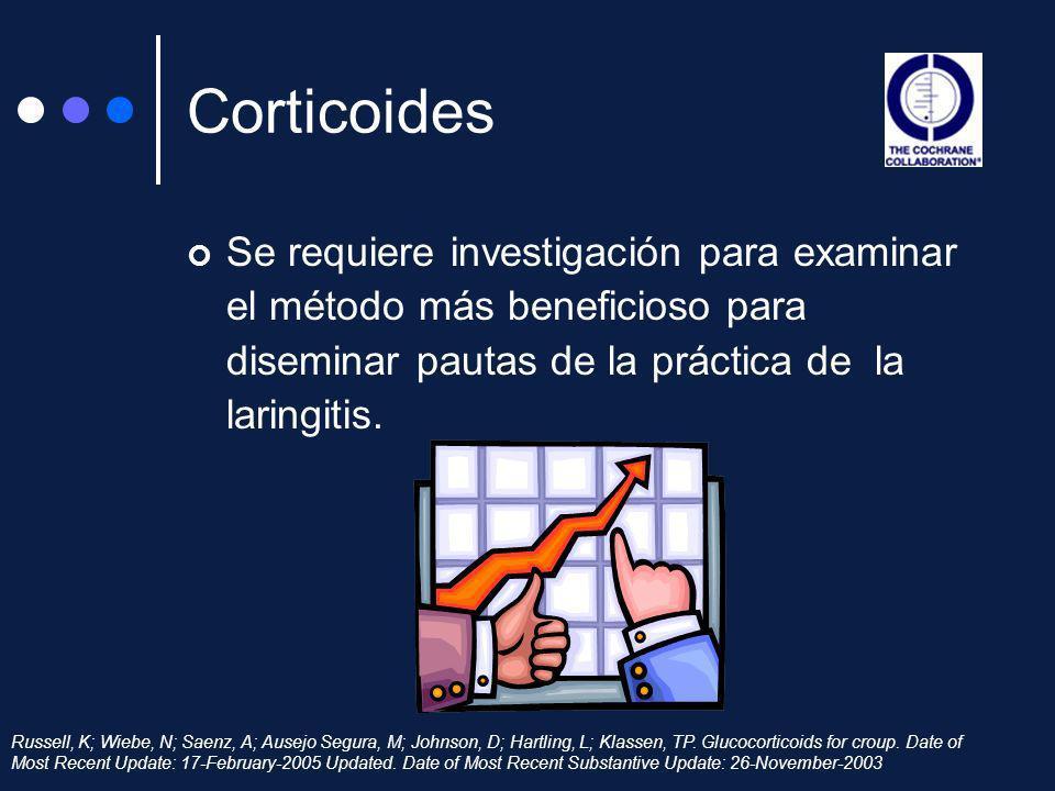 CorticoidesSe requiere investigación para examinar el método más beneficioso para diseminar pautas de la práctica de la laringitis.