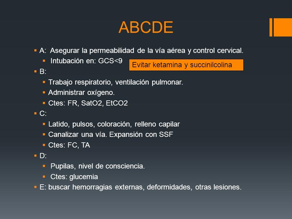 ABCDE A: Asegurar la permeabilidad de la vía aérea y control cervical.
