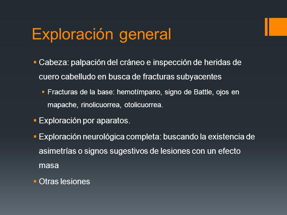 Exploración general Cabeza: palpación del cráneo e inspección de heridas de cuero cabelludo en busca de fracturas subyacentes.