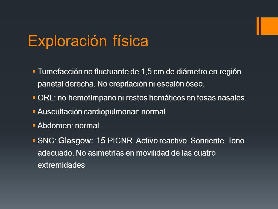 Exploración física Tumefacción no fluctuante de 1,5 cm de diámetro en región parietal derecha. No crepitación ni escalón óseo.