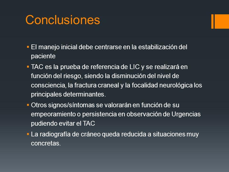 Conclusiones El manejo inicial debe centrarse en la estabilización del paciente.