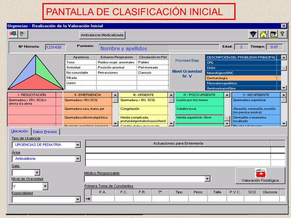 PANTALLA DE CLASIFICACIÓN INICIAL