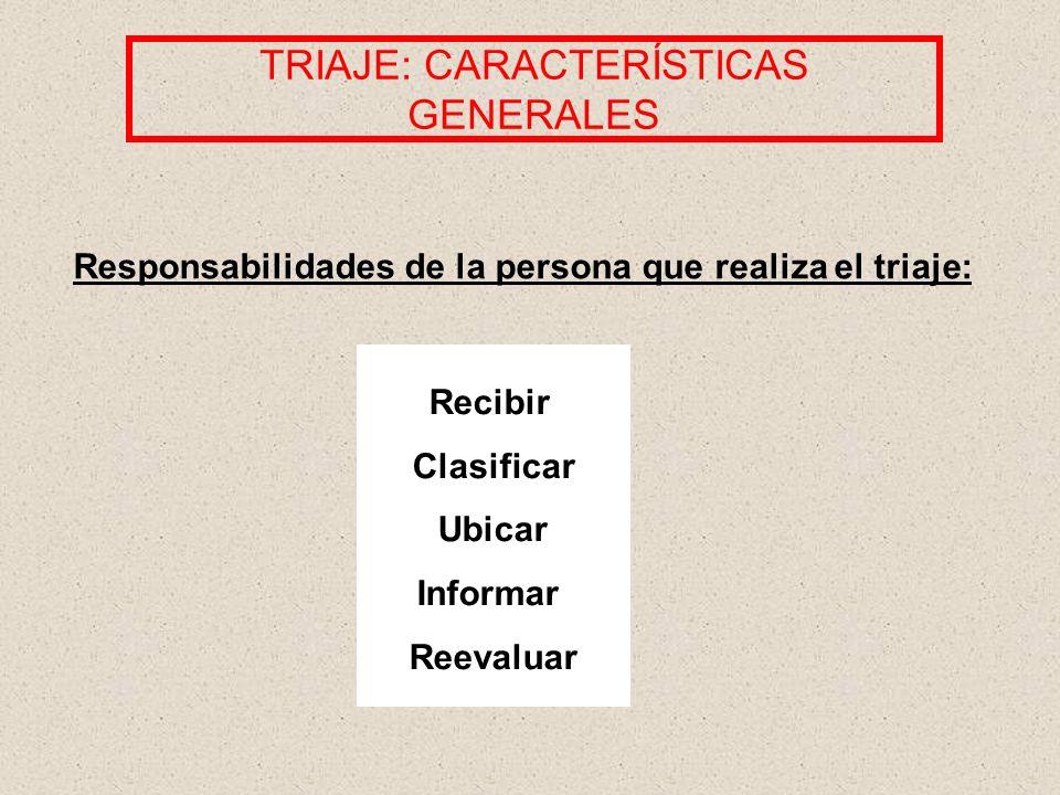 TRIAJE: CARACTERÍSTICAS GENERALES