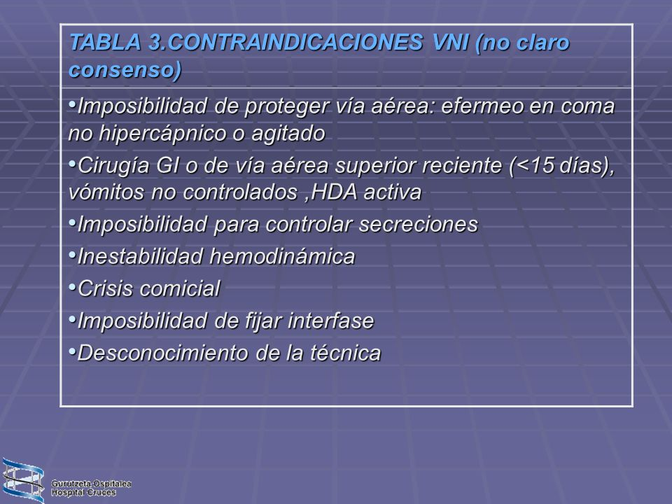 TABLA 3.CONTRAINDICACIONES VNI (no claro consenso)
