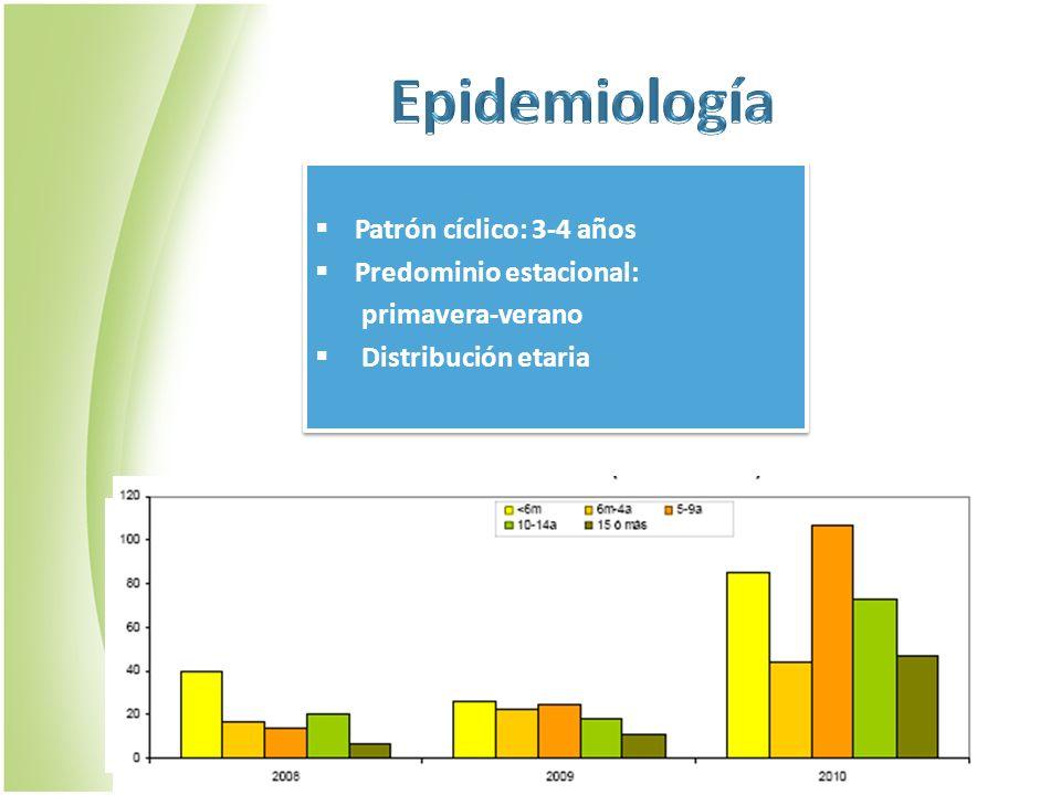 Epidemiología Patrón cíclico: 3-4 años Predominio estacional: