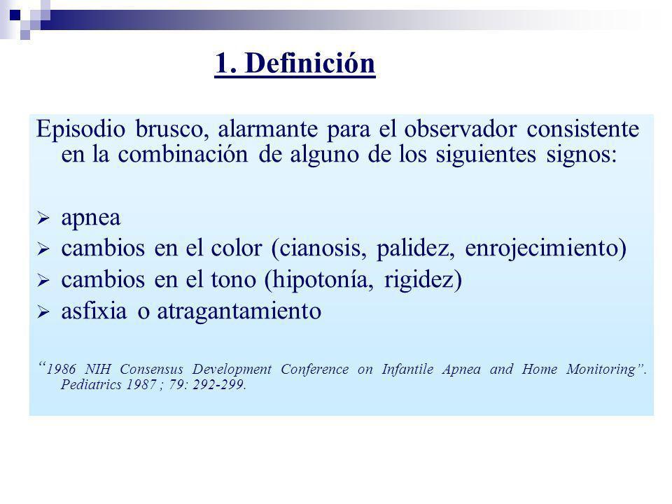 1. DefiniciónEpisodio brusco, alarmante para el observador consistente en la combinación de alguno de los siguientes signos: