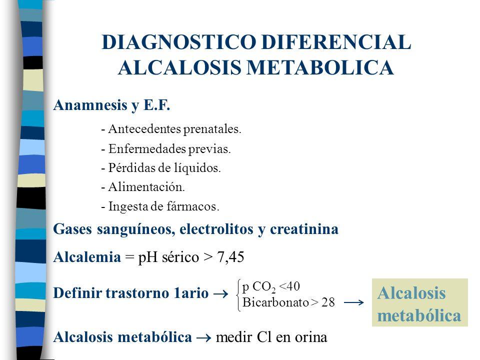 DIAGNOSTICO DIFERENCIAL ALCALOSIS METABOLICA