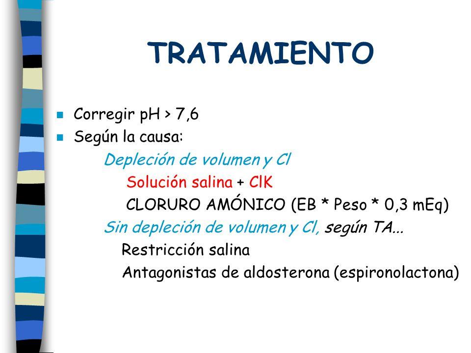 TRATAMIENTO Corregir pH > 7,6 Según la causa: