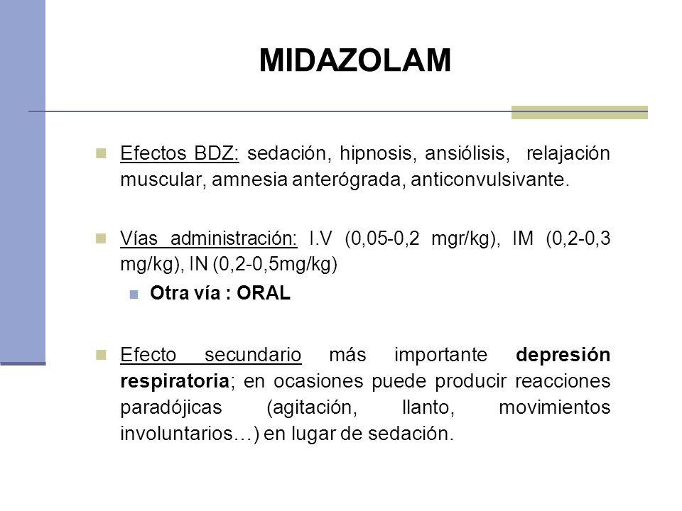 MIDAZOLAM Efectos BDZ: sedación, hipnosis, ansiólisis, relajación muscular, amnesia anterógrada, anticonvulsivante.
