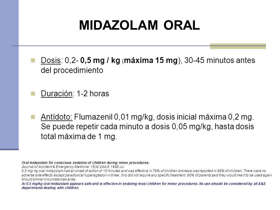 MIDAZOLAM ORALDosis: 0,2- 0,5 mg / kg (máxima 15 mg), 30-45 minutos antes del procedimiento. Duración: 1-2 horas.