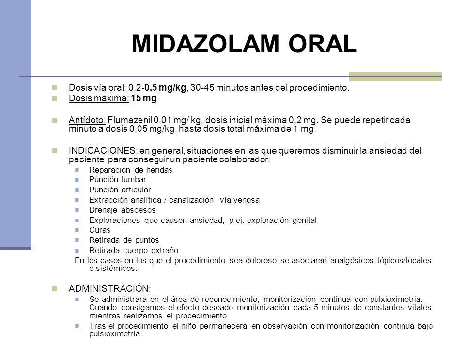 MIDAZOLAM ORAL Dosis vía oral: 0,2-0,5 mg/kg, 30-45 minutos antes del procedimiento. Dosis máxima: 15 mg.