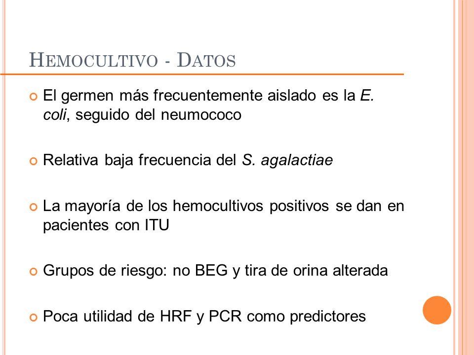 Hemocultivo - Datos El germen más frecuentemente aislado es la E. coli, seguido del neumococo. Relativa baja frecuencia del S. agalactiae.