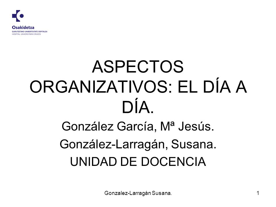 ASPECTOS ORGANIZATIVOS: EL DÍA A DÍA.