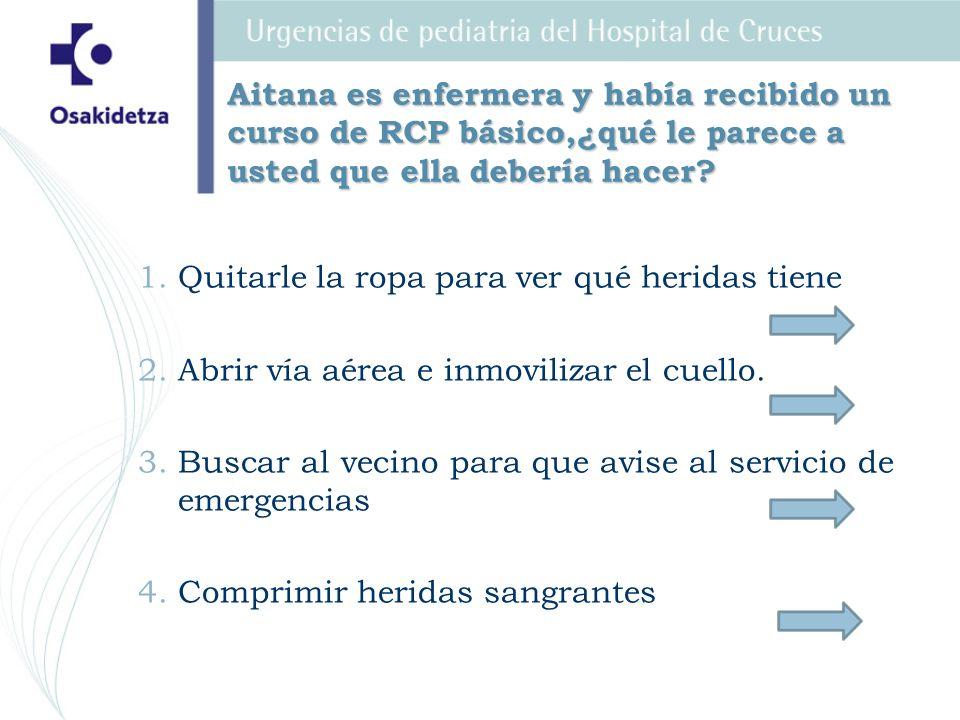 Aitana es enfermera y había recibido un curso de RCP básico,¿qué le parece a usted que ella debería hacer