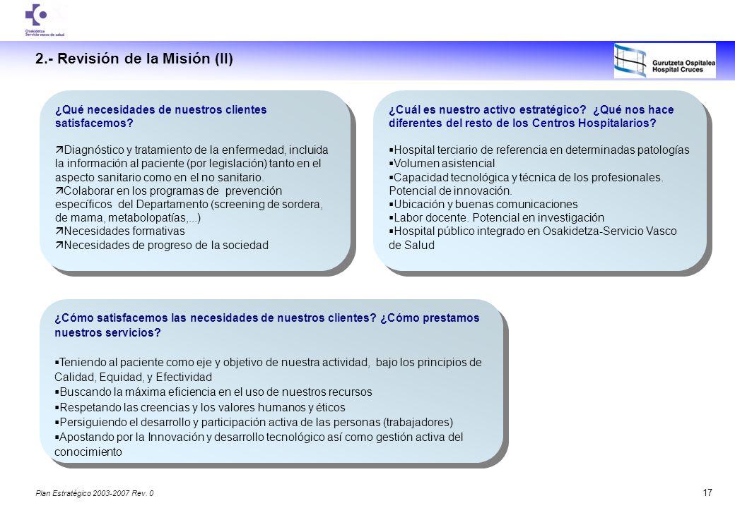 2.- Revisión de la Misión (II)