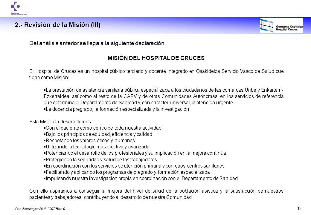MISIÓN DEL HOSPITAL DE CRUCES