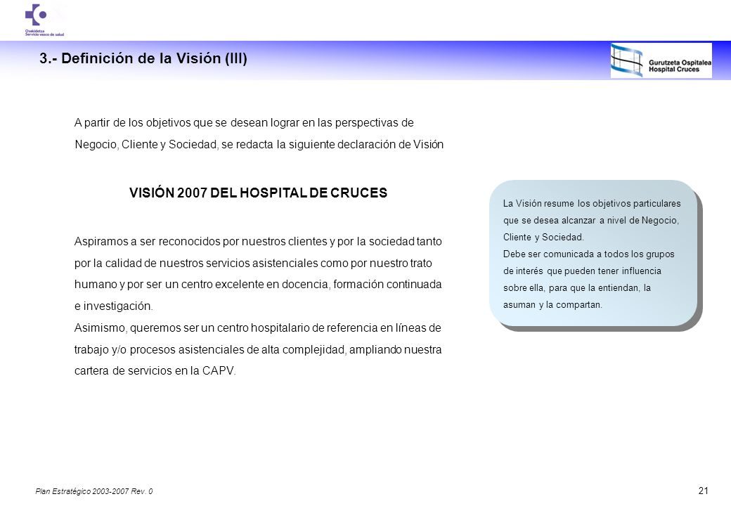 VISIÓN 2007 DEL HOSPITAL DE CRUCES