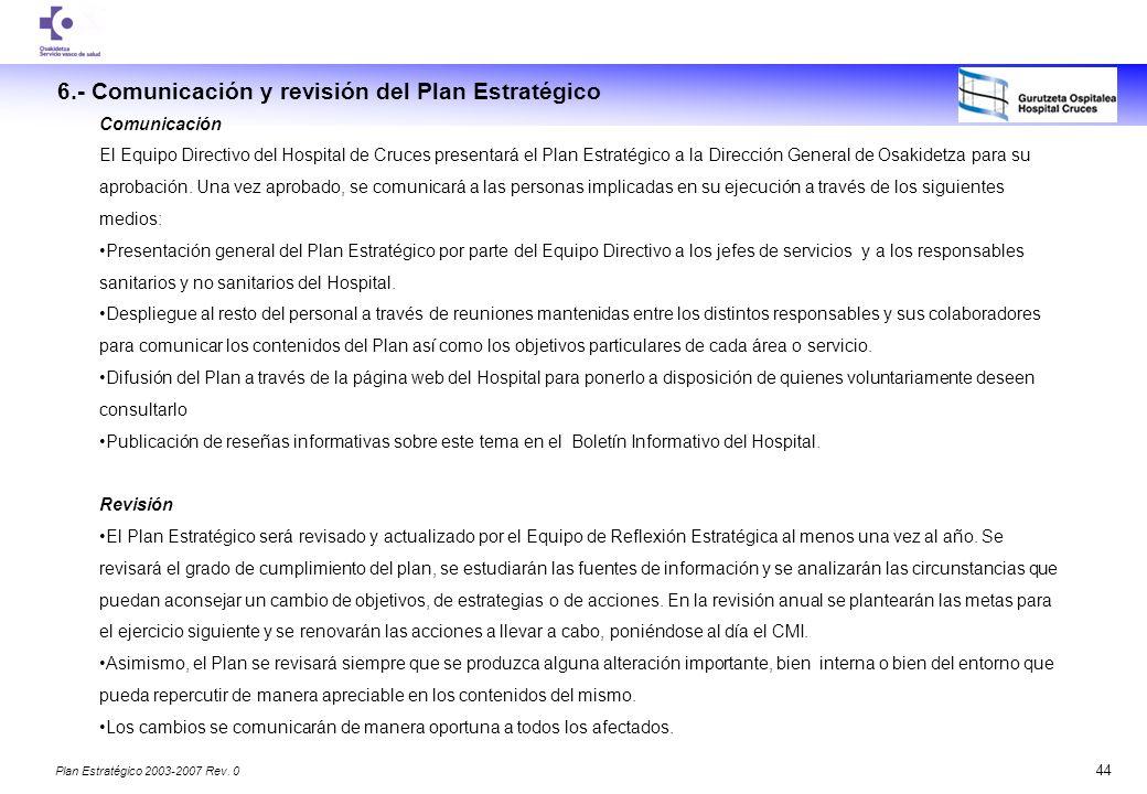 6.- Comunicación y revisión del Plan Estratégico