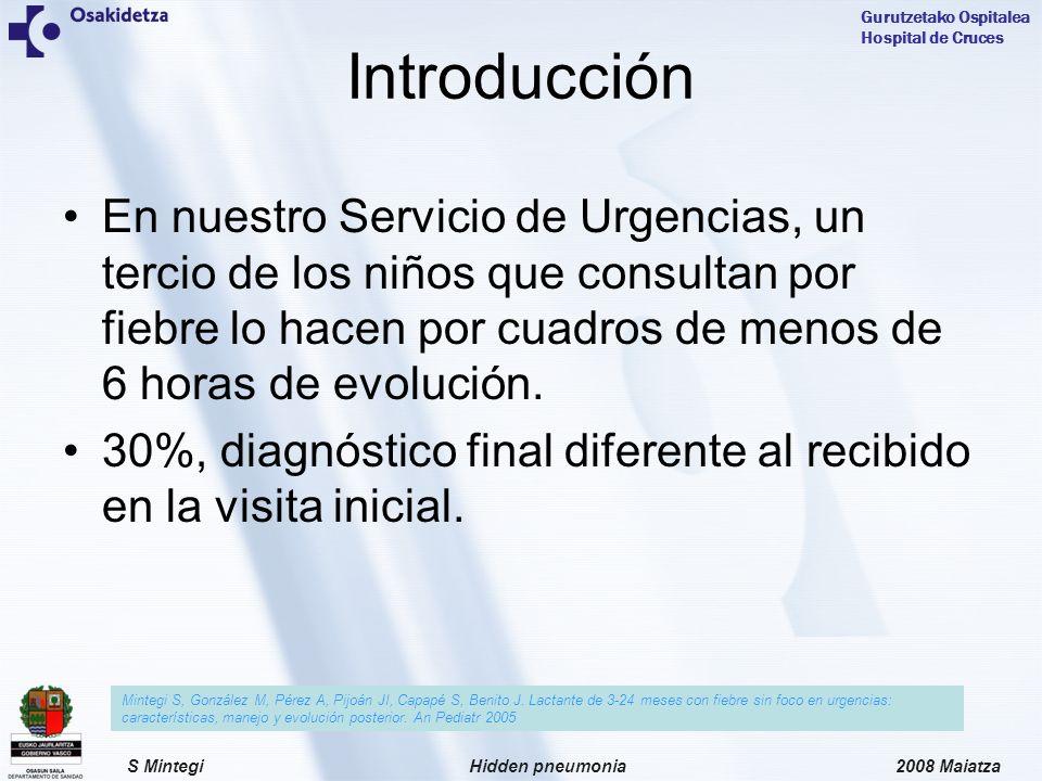 Introducción En nuestro Servicio de Urgencias, un tercio de los niños que consultan por fiebre lo hacen por cuadros de menos de 6 horas de evolución.