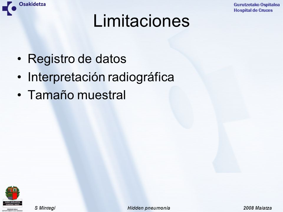 Limitaciones Registro de datos Interpretación radiográfica