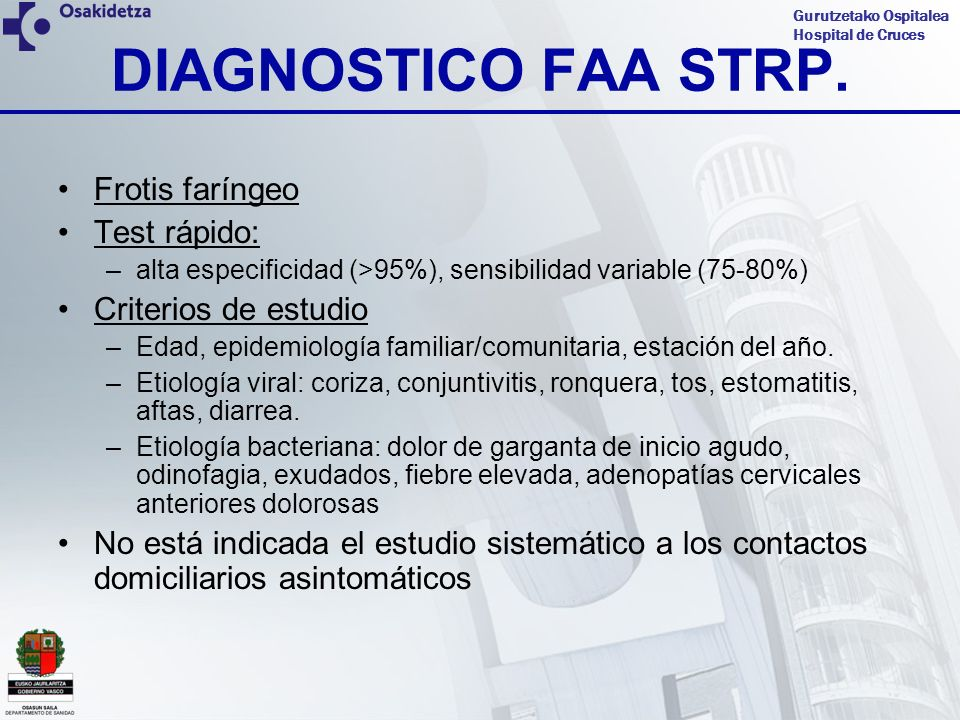 DIAGNOSTICO FAA STRP. Frotis faríngeo Test rápido: