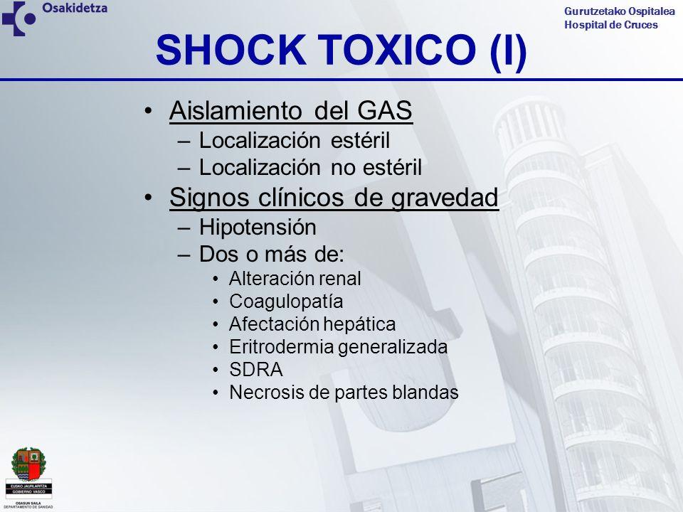 SHOCK TOXICO (I) Aislamiento del GAS Signos clínicos de gravedad